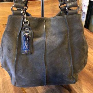 Tignanello AS IS gray suede shoulder bag-purse